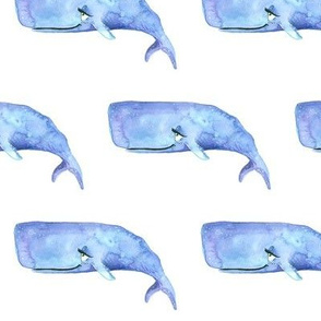 Purple Watercolor Whale 3