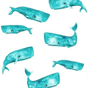 Teal Watercolor Whales on White