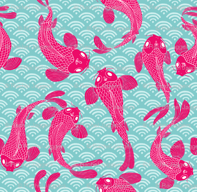 Koi-mono in hot pink on blue