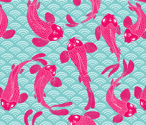 Koi-mono in hot pink on blue fabric by hey_there_louise on Spoonflower - custom fabric