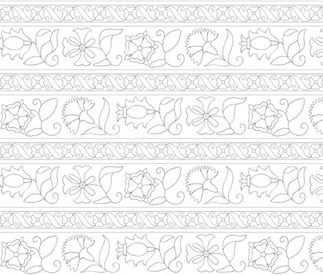 Elizabethan Blackwork Floral Bands fabric by sidney_eileen on Spoonflower - custom fabric