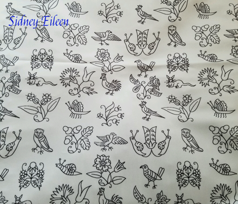 Elizabethan Blackwork Flowers, Birds, and Bugs