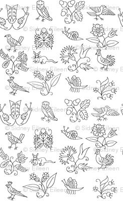 Elizabethan Blackwork Flowers, Birds, and Bugs