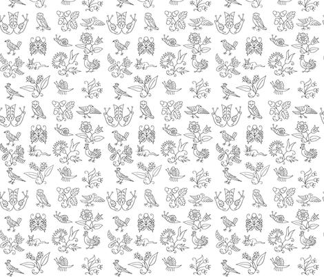 Elizabethan Blackwork Flowers, Birds, and Bugs fabric by sidney_eileen on Spoonflower - custom fabric