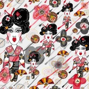 Geisha in the Garden, large scale, gray red black