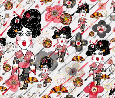 Geisha in the rainy garden, small scale, gray grey red black