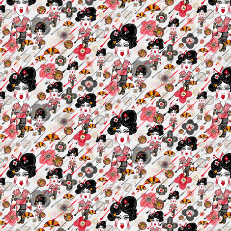 Geisha in the rainy garden, small scale, gray grey red black fabric by amy_g on Spoonflower - custom fabric