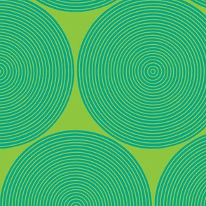 concentric circles - aqua on lime