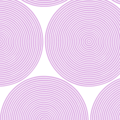 concentric circles - pale lilac on white fabric by weavingmajor on Spoonflower - custom fabric