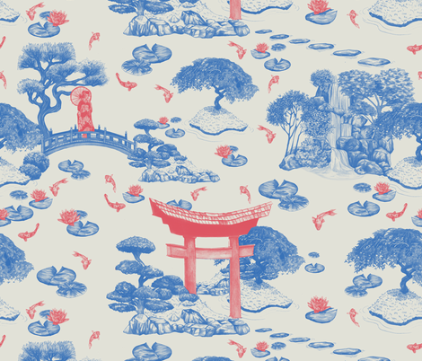 Japanese Garden fabric by deborahballingerillustrations on Spoonflower - custom fabric