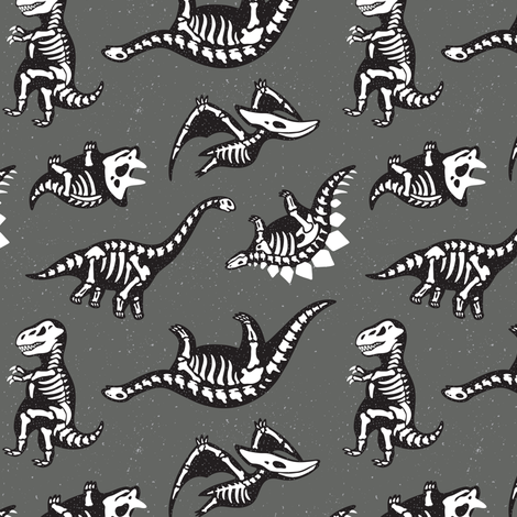 Dinosaur skeletons fabric by penguinhouse on Spoonflower - custom fabric