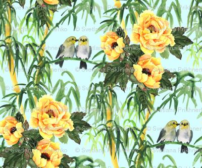 Yellow Peony, Bamboo and Birds