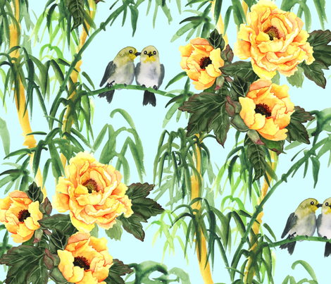 Yellow Peony, Bamboo and Birds fabric by svetlana_prikhnenko on Spoonflower - custom fabric