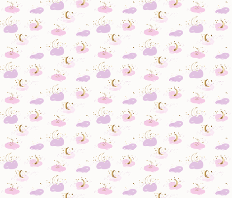 Stars moons pink lavender and gold fabric by jenlats on Spoonflower - custom fabric