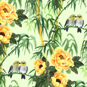 Birds, Yellow Pions and Bamboo