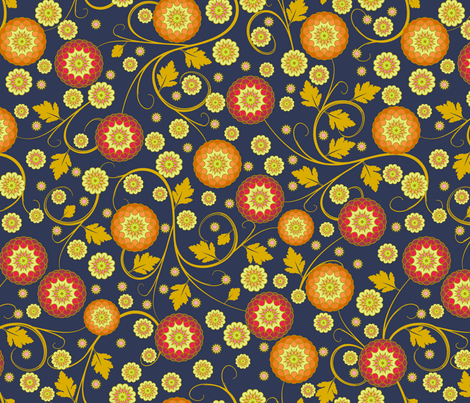 Festival of Happiness - Autumn Indigo fabric by inscribed_here on Spoonflower - custom fabric