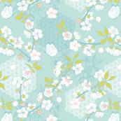 Kimono Pattern - Blossoms on Blue