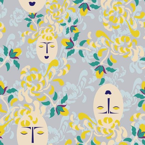Large Japanese Flower Garden || Asian Lemon Yellow Periwinkle Blue || Chrysanthemum Face Lady Purple English Floral _Miss Chiff Designs