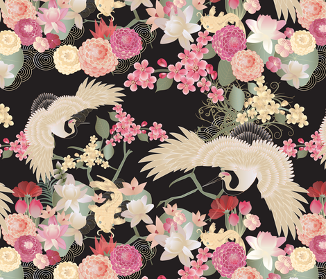 Japanese garden with cranes fabric by kociara on Spoonflower - custom fabric