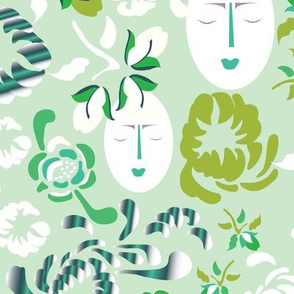 English Floral Summer Garden Green Mum Face_Miss Chiff Designs