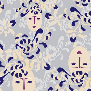 Floral Japan Face Gray Blue Cream Plum Purple Blue || Large Scale Female Face Cream_Miss Chiff Designs