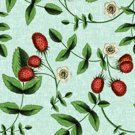 Berry Summer / Sky fabric by willowlanetextiles on Spoonflower - custom fabric