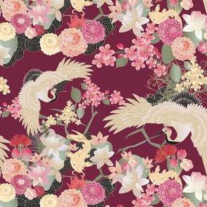 Japanese garden cranes on wine red