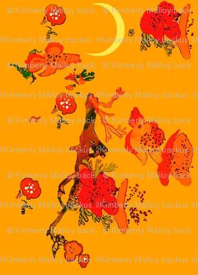 Japanese Flower Garden yellow moon crimson rose