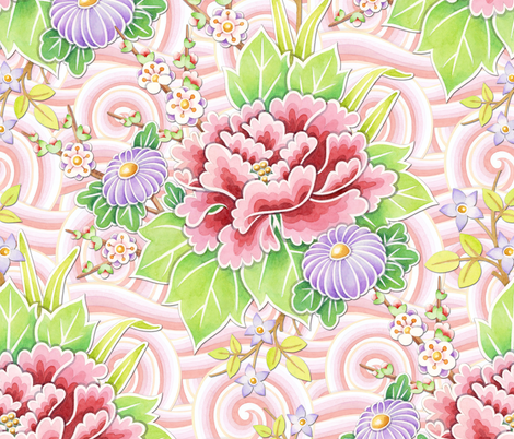 Pink Kimono Bouquet fabric by patriciasheadesigns on Spoonflower - custom fabric