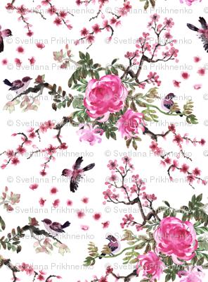 Sparrows and chrysanthemum