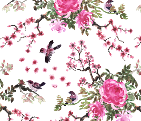 Sparrows and chrysanthemum fabric by svetlana_prikhnenko on Spoonflower - custom fabric