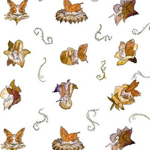 Orange Faeries (Small Pattern)