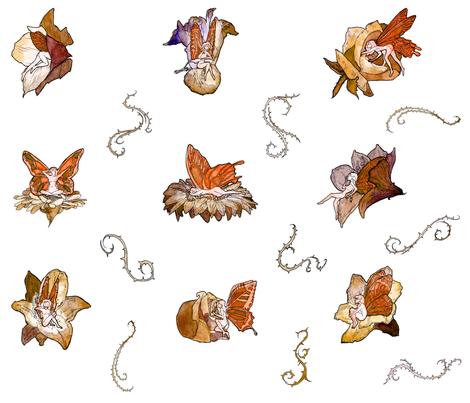 Orange Faeries (Large Pattern) fabric by landfish on Spoonflower - custom fabric