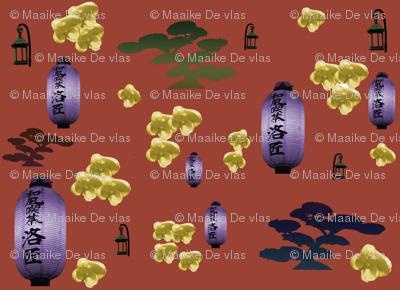 Japanese bonsai and lanterns