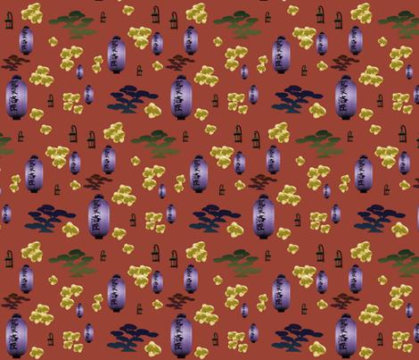 Japanese bonsai and lanterns fabric by zandloopster on Spoonflower - custom fabric