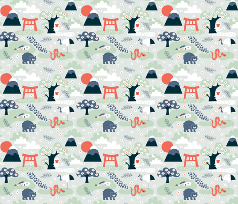Dreaming of Japan fabric by bora on Spoonflower - custom fabric