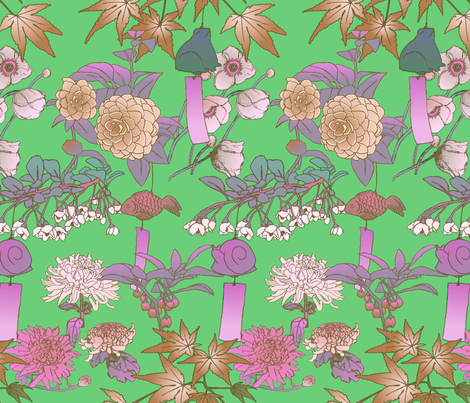 Japanese Garden With Furin Bells on New Leaf fabric by bloomingwyldeiris on Spoonflower - custom fabric