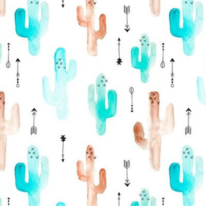 Watercolors cactus garden indian summer arrows blue