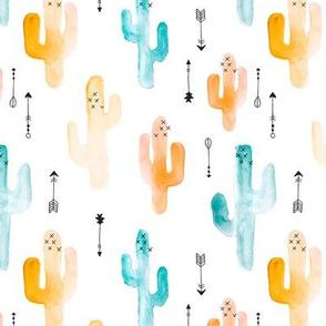 Watercolors cactus garden indian summer arrows blue orange