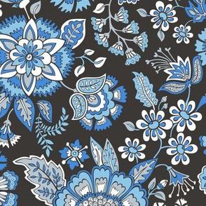 Floral Brocade Garden in Blue