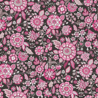 Floral Brocade Garden  in Pink