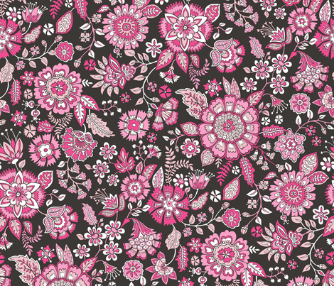 Floral Brocade Garden  in Pink  fabric by caja_design on Spoonflower - custom fabric