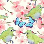 Watercolor Japanese Bird Garden