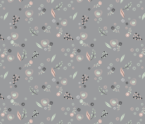 Small Brushstroke Flowers Gray fabric by vinpauld on Spoonflower - custom fabric