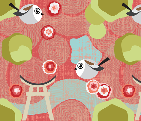 Japanese Longtails in the Garden fabric by owlandchickadee on Spoonflower - custom fabric