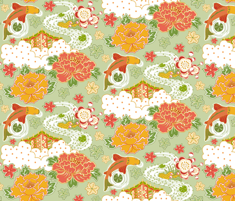 Tranquility 1- green background fabric by julistyle on Spoonflower - custom fabric