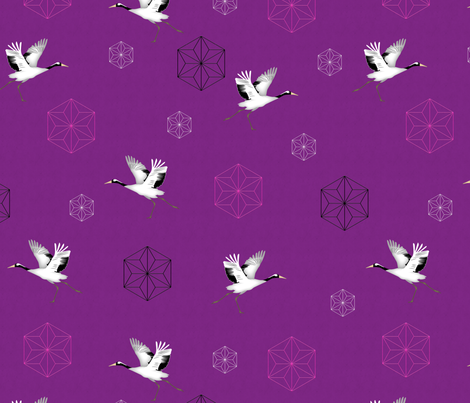 Japanese Cranes fabric by vannina on Spoonflower - custom fabric
