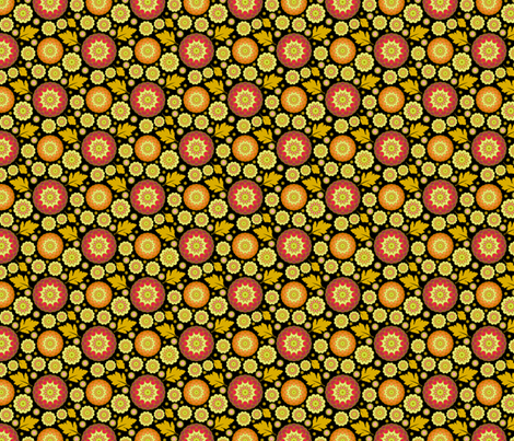 Festive Kiku - Autumn Black fabric by inscribed_here on Spoonflower - custom fabric