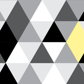 Geometric Triangles Lemon Grey Black Large Scale