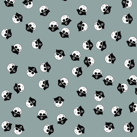 Pirate Kawaii Emoji Grey Ditzy fabric by pennyroyal on Spoonflower - custom fabric
